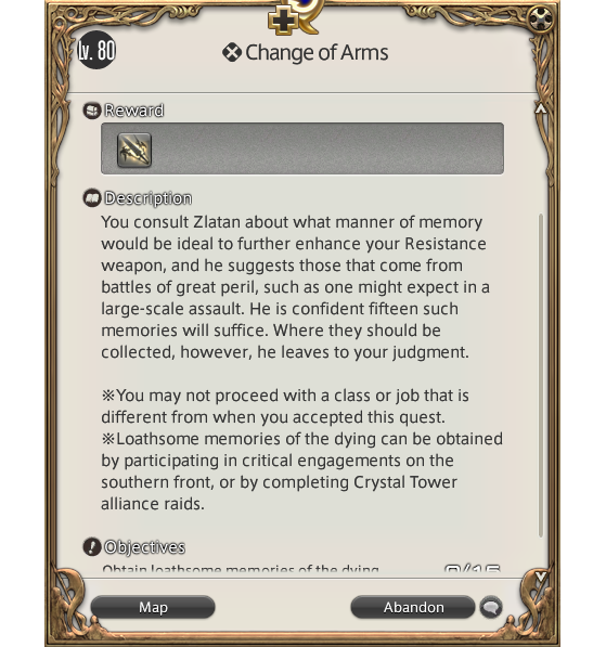 FFXIV 5.45 Relic Upgrade: A change in Arms — Loathsome Memories of the Dying - Final Fantasy XIV
