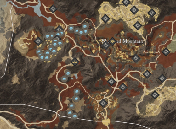 Platinum Ore Locations in Shattered Mountain. - New World