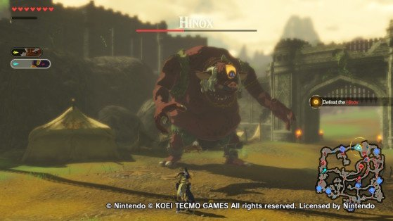 Finishing off the Hinox. - Hyrule Warriors: Age of Calamity