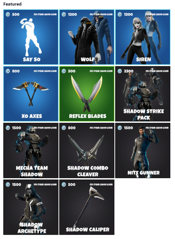 Featured Items. Image courtesy of fnitemshop.com - Fortnite