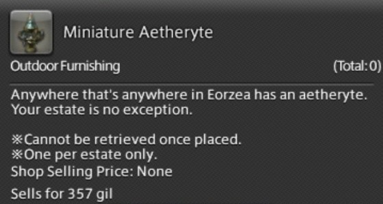 FFXIV Miniature Aetheryte to teleport to your House - Final Fantasy XIV