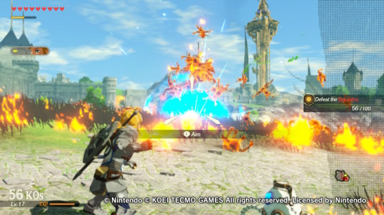 The aftermath of a successful barrel explosion. - Hyrule Warriors: Age of Calamity