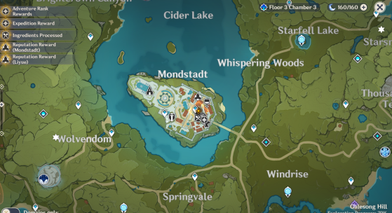 The city of Mondstadt on the map - Genshin Impact