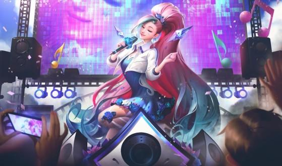 K/DA ALL OUT Seraphine: Rising Star skin splash art - League of Legends