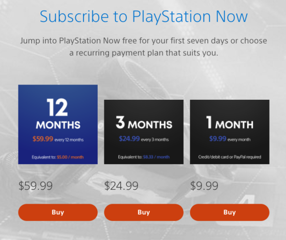 PS Now Pricing Tiers. Image Source: Sony - Millenium