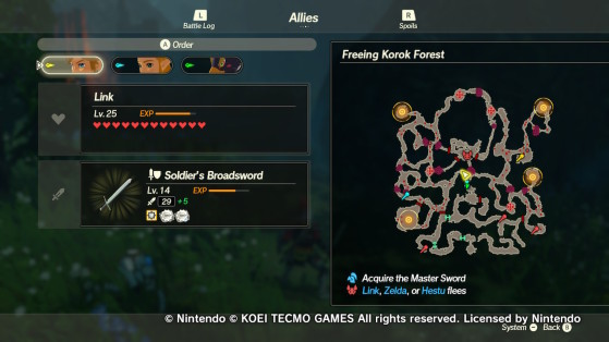 Four new objectives in the Freeing Korok Forest mission. - Hyrule Warriors: Age of Calamity