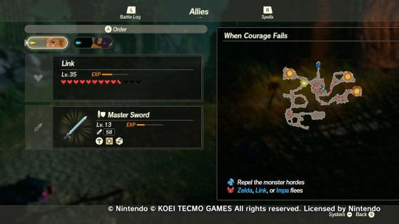 The three outposts in When Courage Fails - Hyrule Warriors: Age of Calamity