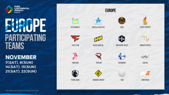 PUBG: PCS3 Europe Teams - PUBG