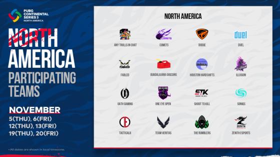 PUBG: PCS3 North America Teams - PUBG
