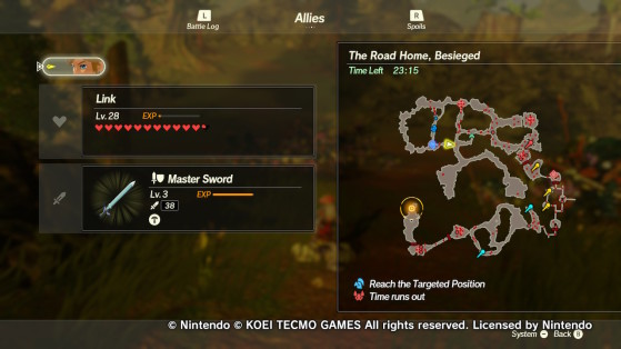 The map of A Road Home, Besieged - Hyrule Warriors: Age of Calamity