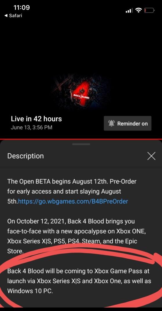The Back 4 Blood description on YouTube - Millenium
