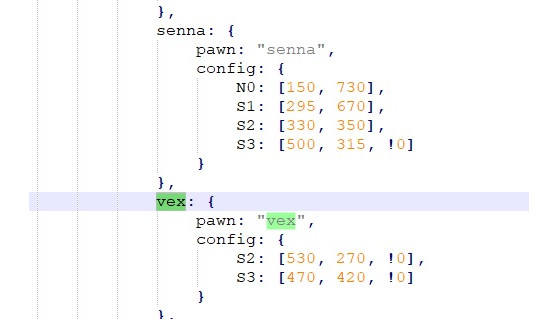This is the code snippet that refers to the champion - League of Legends