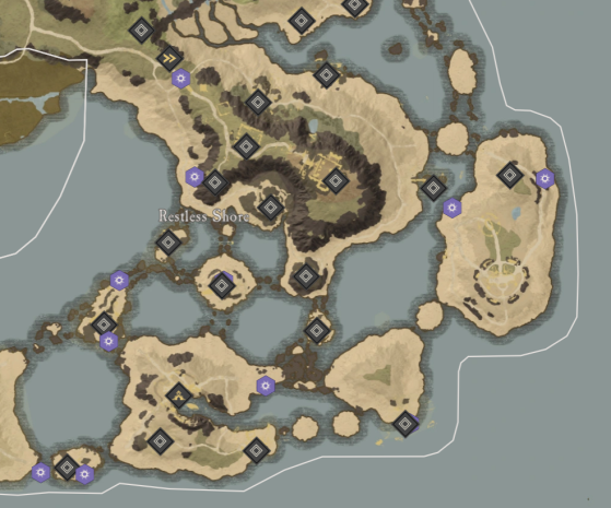 Lifejewel Locations in Restless Shore. - New World