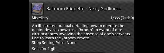 FFXIV 5.41 Guide: unlock broom emote — Ballroom Etiquette - Next, Godliness - Final Fantasy XIV