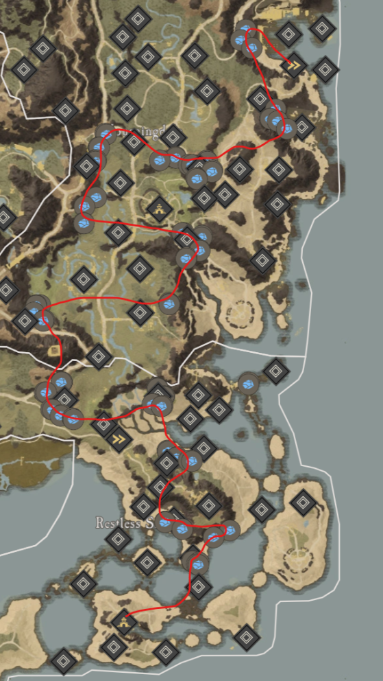 Starmetal Ore Locations in Mourningdale. - New World