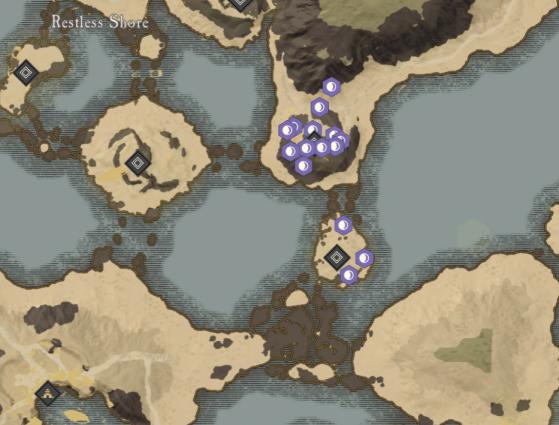 Blightcrag Locations in Restless Shore. - New World