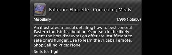 FFXIV 5.41 Guide: unlock broom emote — Ballroom Etiquette - Concealing Meals - Final Fantasy XIV