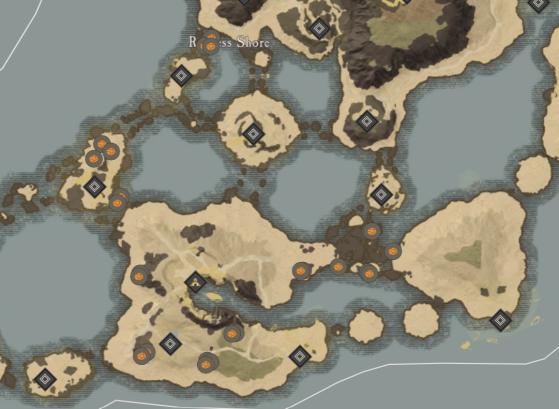 Lodestone Locations in Restless Shore. - New World