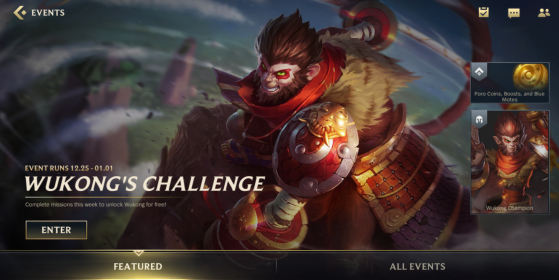 Wukong's Challenge event gives you the champion for free. - Wild Rift